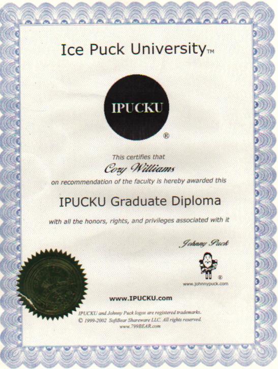 Ice Puck University Graduate Diploma