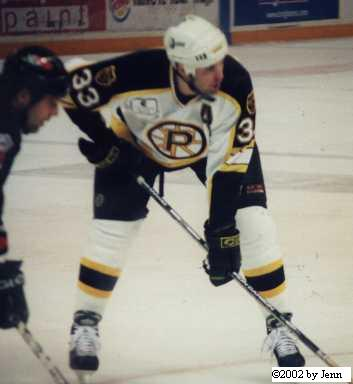 In game shot.  Joel playing for the Providence Bruins.